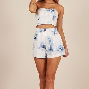 Shades of Grey Two piece Set in Blue Floral